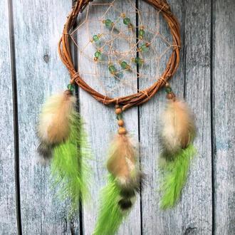Маленький салатовый ловец снов,ловец сновЮсалатовый ловец снов,декор,оберег
