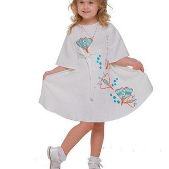 Дитяча сукня вишиванка «Первоцвіт» молочна