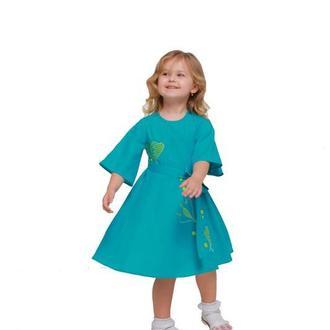 Дитяча сукня вишиванка «Первоцвіт» бірюзова