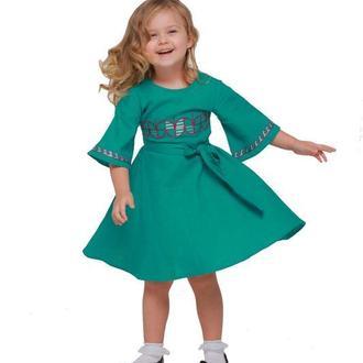 Дитяча сукня вишиванка «Веснянка» морська хвиля