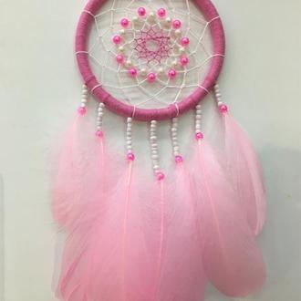 Розовый ловец снов,ловец снов,маленький ловец снов,подарок девочке