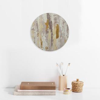 Круглая абстрактная картина под заказ / Текстурная интерьерная картина с золотом