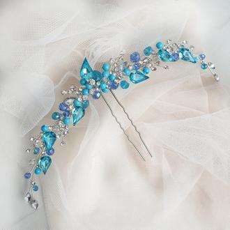 Голубая заколка, голубое украшение для волос, украшение в прическу,