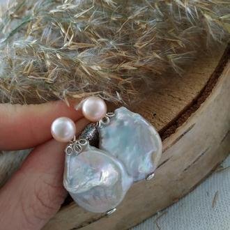 Серебряные серьги - пусеты розовые с барочным жемчугом ′Маргарита′