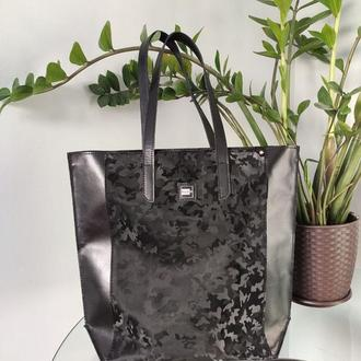 Сумка шопер . Большая женская сумка . Черная кожаная сумка .
