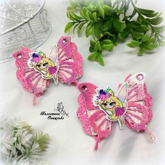 Розовые бантики маленькая фея / бантики для девочек / резинки для волос
