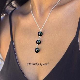 Серебряный кулон жемчужное ожерелье серебро стильное украшение жемчуг dzvinka guzul тренд подарок