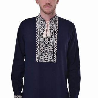Чоловіча вишиванка «Поділля» темно-синя