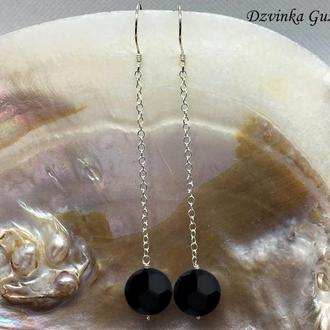 Серебряные серьги цепочки модные сережки серебро кристаллы Сваровски жемчуг dzvinka guzul подарок