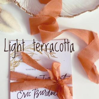 Батистовая лента для свадебного букета, цвета легкого терракотта