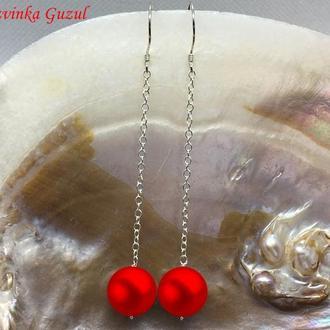 Серебряные сережки жемчужные серьги серебро жемчуг модное украшение dzvinka guzul тренд подарок люкс