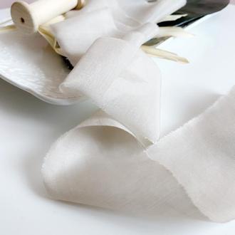 Батистовая лента для свадебного букета, цвет Лён