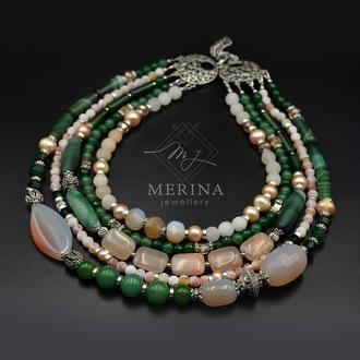 Персиковое мохито (нежное ожерелье из кварца, агата и жемчуга)