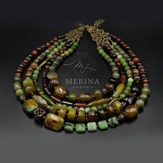 Оливковая роскошь (Ожерелье из натурального агата, жадеита и сердолика)