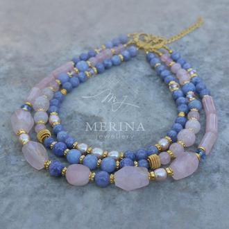 Розовая прохлада (ожерелье из розового и голубого кварца и жемчуга)