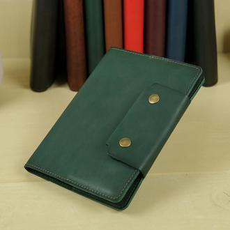 """Обложка для блокнота А5 """"Модель № 2"""" кожа итальянский краст, цвет зеленый"""