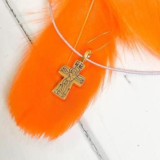 Крест нательный крестик мужской женский детский кулон, серебро 925° с позолотой 999