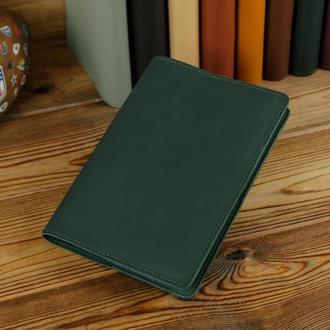 """Обложка для блокнота А5, """"Модель № 14"""" кожа Grand, цвет зеленый"""