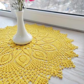 Жовта в'язана серветка «Sunrise» («Світанок сонця») (бавовна, діаметр 50 см)