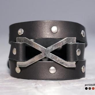 Тонкий кожаный браслет в 3 оборота со знаком бесконечность, код 8073