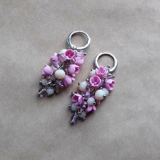 Розовые серьги грозди, сережки с цветами, нежные серьги, подарок коллеге девушке