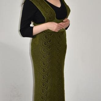 Длинный вязаный ажурный сарафан платье темно зеленого бутылочного цвета