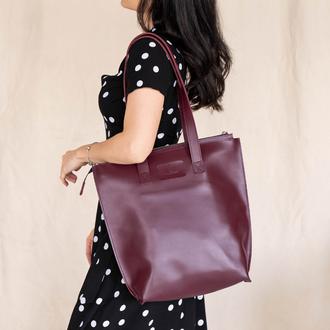 Бордовая женская сумка большого размера из натуральной кожи с эффектом легкого глянца