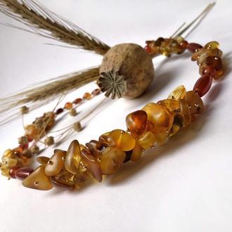 Колье «Марракеш» из янтаря и сердолика