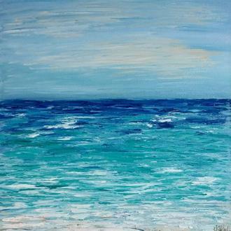 Авторская картина маслом «Марина, Песчаный пляж» - холст 60х40