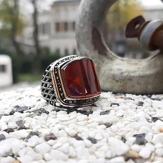 Закругленная печатка с красным камнем из серебра ручной работы мужская дизайнерская