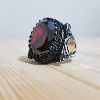 Винтажная печатка с темно красным камнем из серебра с вензелем ручной работы