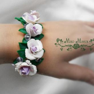 Свадебный браслет - розовая ветвь