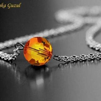 Серебряный кулон браслет серебро кулон ожерелье кристаллы Сваровски подарок Dzvinka Guzul тренд люкс