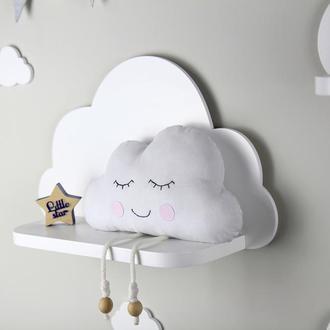 Полочка Облако, Тучка, настенная полка в детскую, полка для игрушек, декор в детскую