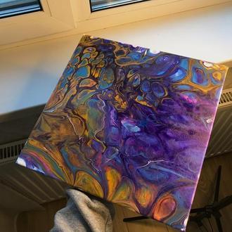 Картина на холсте, акриловая заливка, акриловая картина, абстрактная картина