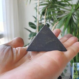 """Пирамида """"Шунгит"""" 6см полированная на подставке"""