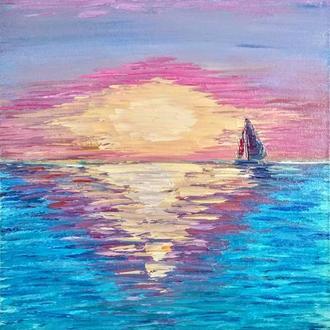 Авторская картина маслом «Парусник в лучах розового заката» - холст 60х40 см