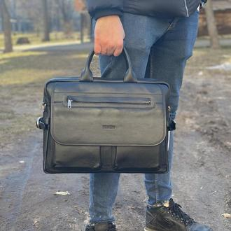 Мужской кожаный портфель на два отделения Newery N9523GA
