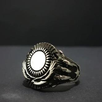 Кольцо с орлом под солнцем из серебра ручной работы Перстень орел дизайн