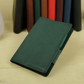 """Обложка для блокнота А5 """"Модель № 12"""" кожа итальянский краст, цвет зеленый"""