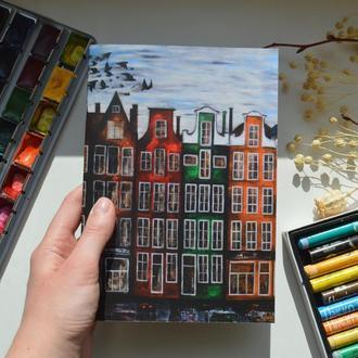 """Скетчбук А5 с белой бумагой. Авторская иллюстрация """"Амстердам"""""""