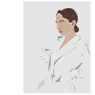 Портрет девушки минимализм (блог, без лица, digital portrait, иллюстрация под заказ, на подарок)