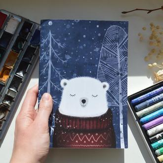 """Скетчбук А5 з білим папером. Авторська ілюстрація """"Ведмідь Крістоф"""""""