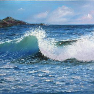 """Картина маслом на холсте """"Волна"""" море"""