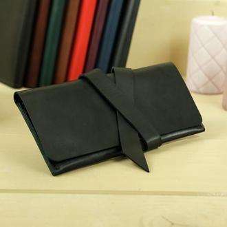 Кожаный кошелек, клатч с закруткой, кожа итальянский краст, цвет черный