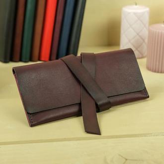 Кожаный кошелек, клатч с закруткой, кожа итальянский краст, цвет бордо