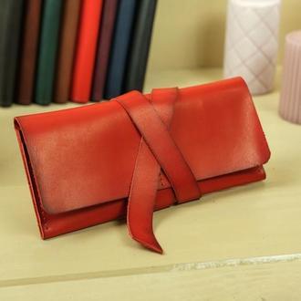 Кожаный кошелек, клатч с закруткой, кожа итальянский краст, цвет красный