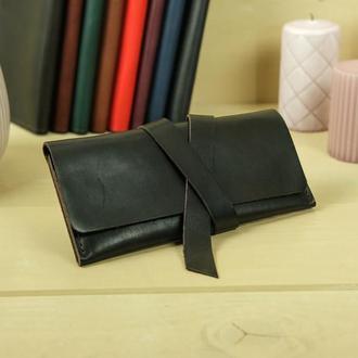 Кожаный кошелек, клатч с закруткой, кожа итальянский краст, цвет кофе