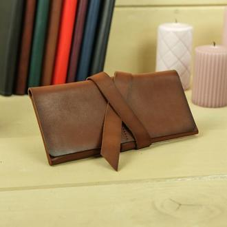 Кожаный кошелек, клатч с закруткой, кожа итальянский краст, цвет коричневый