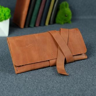Кожаный кошелек, клатч с закруткой, винтажная кожа Crazy Horse, цвет коньяк